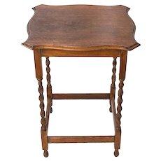 Antique English Oak Barley Twist Side Table