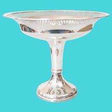 Large Vintage Silver Plate Pierced Pedestal Compote