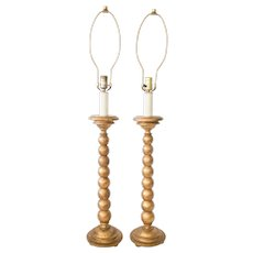 Tall Mid-Century Italian Florentine Giltwood Table Lamps, a Pair