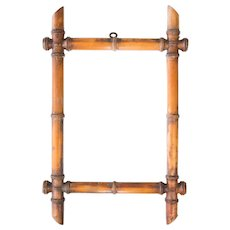 Antique 19th-Century French Faux Bamboo Carved Mirror