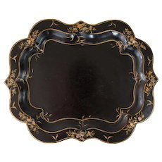 Antique 19th-Century English Papier Mache Mother of Pearl Tray