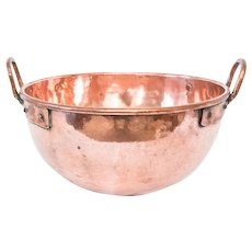 Large 19th-Century French Hammered Copper Tempering Bowl