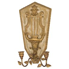 Italian Florentine Neoclassical Giltwood & Tole Lyre Wall Candle Sconce