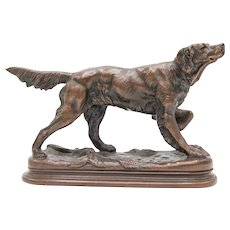 Antique French Bronze Sporting Dog Sculpture