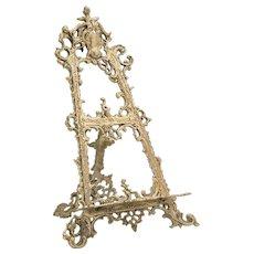Large Vintage Art Nouveau Brass Table Easel