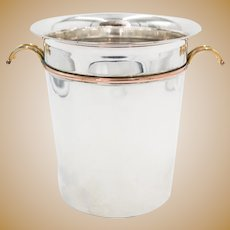 French Art Deco Silver Plate & Brass Champagne Wine Ice Bucket