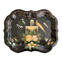 Antique French Hand Painted Bird Scalloped Tole Tray
