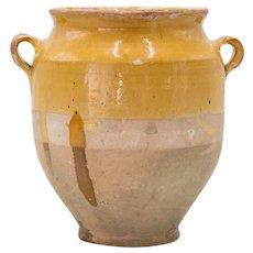 Large Antique 19th-Century French Glazed Confit Pot Planter