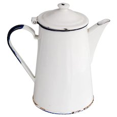 Antique French White Enamelware Coffee Pot Pitcher