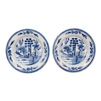Antique 18th Century Dutch Delft Floral Plates, a Pair