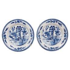 Antique 18th Century Dutch Delft Floral Plates, a Pair