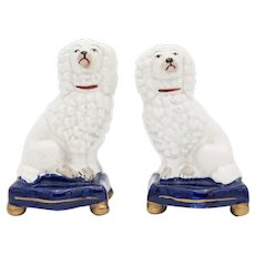 Antique English Staffordshire Dogs Poodles Figurines - a Pair