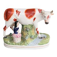Large 19th-Century English Staffordshire Cow & Girl Figurine