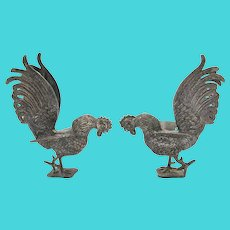 Vintage Silver Plate Decorative Fighting Roosters - a Pair