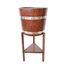 Antique English Oak Tripod Ice Bucket Wine Cooler Jardiniere