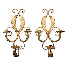 Mid-Century Italian Gilt Tole Candle Wall Sconces