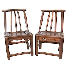 Antique 19th-Century Chinese Child's Chairs, a Pair