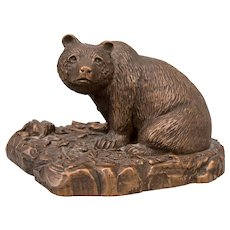 Mid-Century Rustic Copper Bear Sculpture Signed