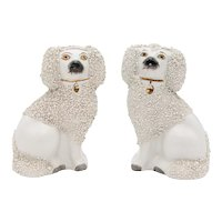 Antique English Staffordshire Poodle Dogs Figurines - a Pair