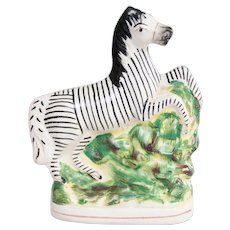 Antique English Staffordshire Zebra Figurine