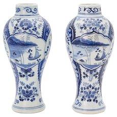 Antique Delft Dutch Chinoiserie Vases, a Pair