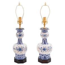 Antique Dutch Delft Faience Knobble Vases Lamps, a Pair