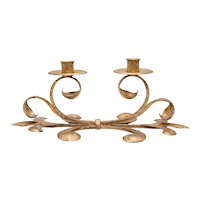Mid-Century Italian Gilt Tole Candelabra Candle Holder