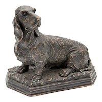 Antique French Bronze Basset Hound Dog Sculpture