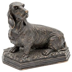 Antique French Bronze Basset Hound Dog Sculpture