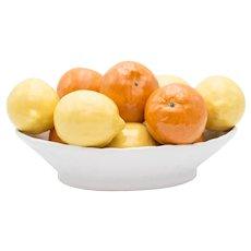Vintage Mid-Century Italian Majolica Bowl of Lemons and Oranges