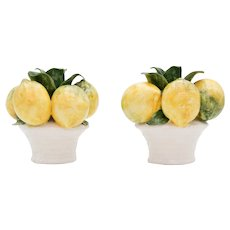 Vintage Italian Majolica Lemons Candle Holders
