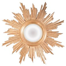 Mid Century French Giltwood Convex Sunburst Mirror