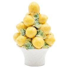 Vintage Italian Majolica Lemons Topiary