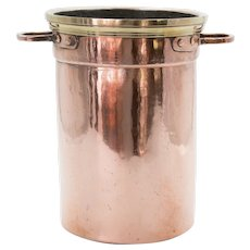 Antique French Copper & Brass Champagne Ice Bucket Wine Cooler