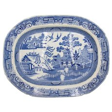 Antique English Staffordshire Blue Willow Platter