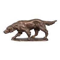 Large Antique French Bronze Sporting Dog