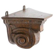 Antique 19th-Century English Carved Oak Shelf Bracket