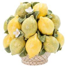 Vintage Italian Majolica Lemons & Limes Topiary Basket