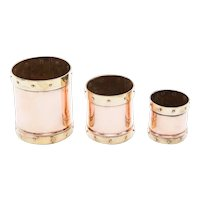Antiue English Copper & Brass Graduated Planters - Set of 3