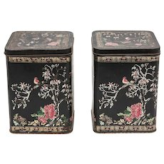 Antique French Hand Painted Tole Tea Tins, a Pair