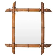 Antique French Faux Bamboo Carved Mirror