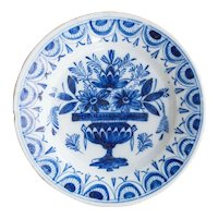18th-Century Antique Dutch Delft Flower Pot Plate