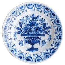 18th-Century Antique Dutch Delft Flower Pot Plate