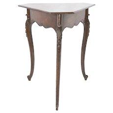 19th Century French Walnut Tripod Triangular Side Table