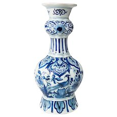 Antique 18th-Century Dutch Delft Bird Floral Knobble Vase