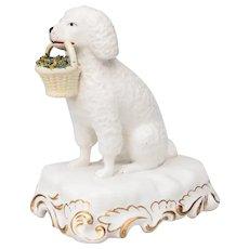 Vintage English Staffordshire Poodle Dog With Flower Basket Figurine