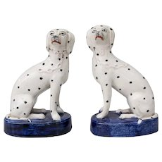 Antique 19th-Century Staffordshire Dalmatian Dogs Figurines, a Pair