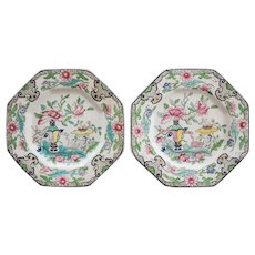 Antique Mason's Ironstone Floral Chinoiserie Plates, a Pair