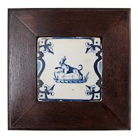 Antique 17th Century Dutch Delft Framed Dog Tile