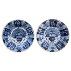 18th-Century Dutch Delft Peacock Plates, a Pair